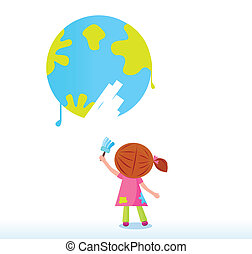 Cute child painting earth. Vector illustration isolated on white background.