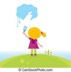 Little artist kid painting on sky - Cute child painting blue...