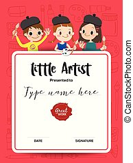little artist, kids diploma painting course certificate template