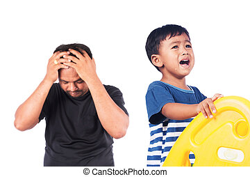 little asian boy angry his father, black and white tone
