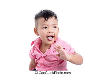 Little asian boy over white background