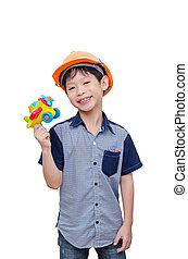boy playing with plane toy