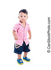 Little asian boy standing over white background