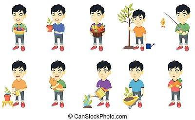Little asian boy vector illustrations set.