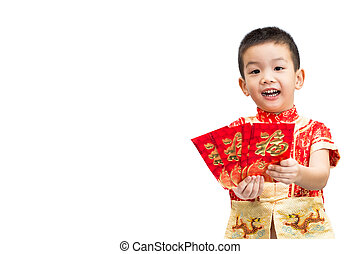 Little Asian boy wearing red traditional Chinese suit and holding many of red envelope