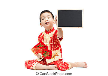 Little Asian boy wearing red traditional Chinese suit holding ma