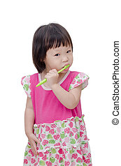 girl cleaning teeth by toothbrush
