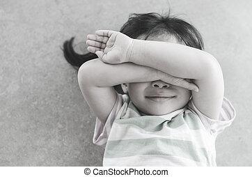 girl crying on the floor