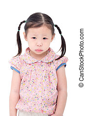 girl crying over white background
