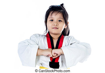 little asian girl in a kimono with a yellow sash on a white ...