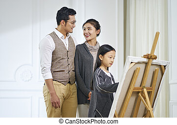 little asian girl making a painting with parents watching
