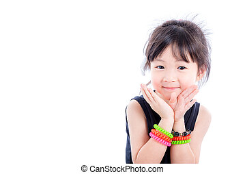 Little asian girl over white background