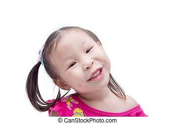 girl smiling over white background