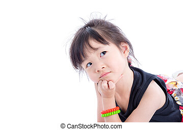Little asian girl thinking over white background
