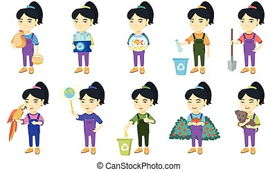 Little asian girl vector illustrations set.