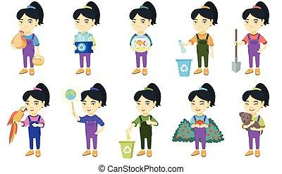 Little asian girl vector illustrations set.