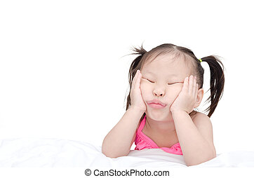 Little asian girl with funny face