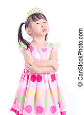 girl with moody face over white background