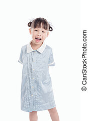 preschool girl standing and smiling over white background
