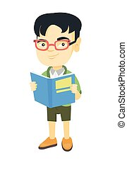 Little asian schoolboy reading a book.