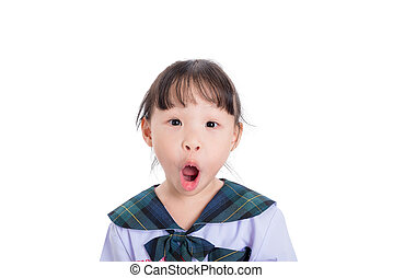 schoolgirl with surprise face over white background