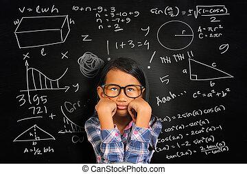 Little Asian Student Girl Getting Sick of Math - Little...