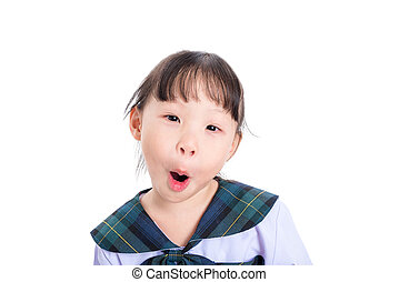 student with surprised face over white background