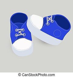 little baby blue boots or shoes vector illustration