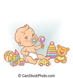 Little baby boy in diaper sitting playing with toys.