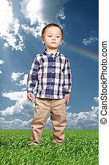 Little Baby Boy In Green Grass