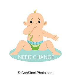 Little Baby Boy In Nappy Needs Change, Part Of Reasons Of Infant Being Unhappy And Crying Cartoon Illustration Collection