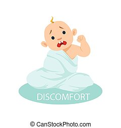 Little Baby Boy In Nappy Tangled In Blanket Feeling Discomfort, Part Of Reasons Of Infant Being Unhappy And Crying Cartoon Illustration Collection