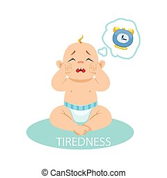 Little Baby Boy In Nappy Tired And Wants To Sleep, Part Of Reasons Of Infant Being Unhappy And Crying Cartoon Illustration Collection