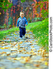 little baby boy running in colorful autumn park