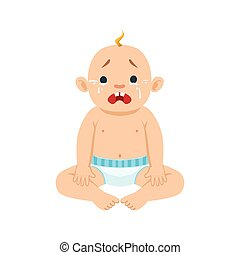 Little Baby Boy Sitting In Nappy Crying With Eyes Full Of Tears, Part Of Reasons Of Infant Being Unhappy Cartoon Illustration Collection