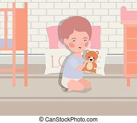 little baby boy with bear teddy