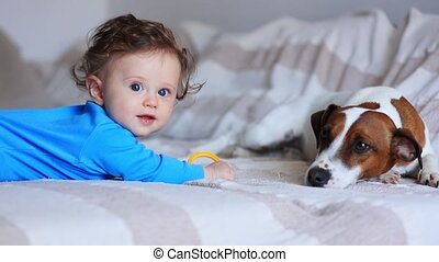 Little baby boy with jack russell terrier sitting on a sofa.
