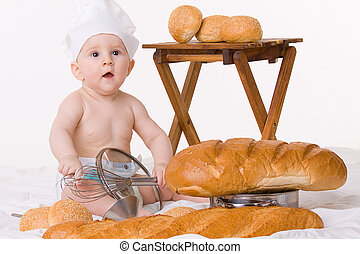 Little baby chef with bread