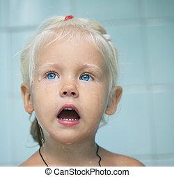 little baby child girl in bath