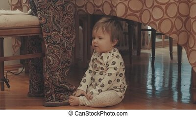 Little baby crying, then just sitting on the floor.. Eye...