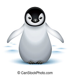 Little baby emperor penguin on the snow