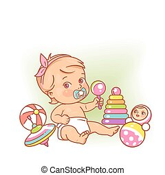 Little baby girl in diaper sitting playing with toys.