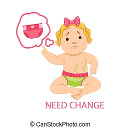 Little Baby Girl In Dirty Nappy Needs Change, Part Of Reasons Of Infant Being Unhappy And Crying Cartoon Illustration Collection