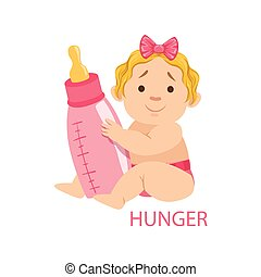 Little Baby Girl In Nappy Holding A Bottle Being Hungry, Part Of Reasons Of Infant Being Unhappy And Crying Cartoon Illustration Collection