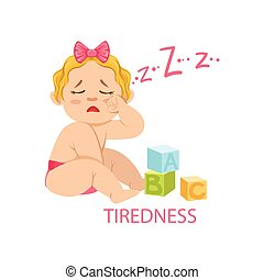 Little Baby Girl In Nappy Is Tired And Needs Sleep, Part Of Reasons Of Infant Being Unhappy And Crying Cartoon Illustration Collection