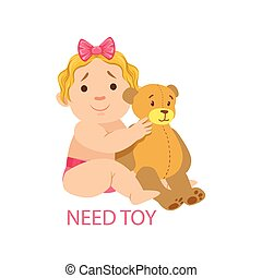 Little Baby Girl In Nappy With Teddy Bear Needing A Toy,Part Of Reasons Of Infant Being Unhappy And Crying Cartoon Illustration Collection