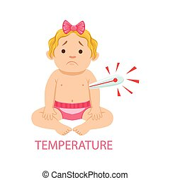 Little Baby Girl In Nappy With Thermometer Has Fever, Part Of Reasons Of Infant Being Unhappy And Crying Cartoon Illustration Collection