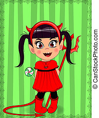 little baby girl in red devil imp costume on green striped background
