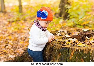 Little baby girl in the autumn park