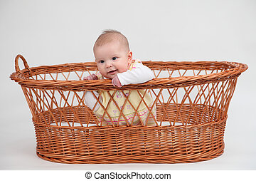 Little baby girl sitting in a basket